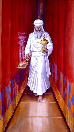 Ancient Israelite temple vestiture and ritual. The High Priest wears his special linen garments, sash and turban during his once per year entry into the Holy of Holies on Yom Kippur, the Day of Atonement. He approaches the Ark of the Covenant beyond the veil with the incense shovel in one hand, the smoke representing the prayers of the Israelites, and small vessel of bull's blood in the other hand, the sin offering (atonement) on behalf of all the Israelites. Image based on Leviticus 16 and Exodus 25-31 and Exodus 35-40.